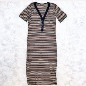 Zara ribbed striped jersey midi dress